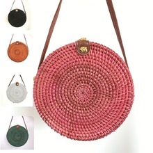 NANA Colored rattan bag Rattan Bags Straw Round Handbags leather buckle woven diagonal beach Five colors