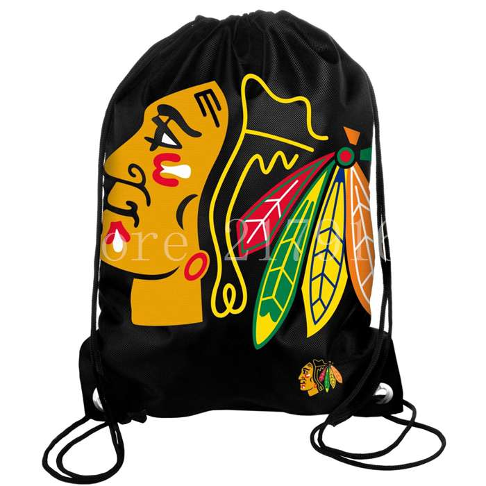 35-45-cm-knitted-polyester-material-Chicago-Blackhawks-backpack-bag-with-rope-Metal-Grommets