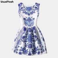 Blue And White Porcelain Dress 2016 Summer Fashion Women Dresses Sleeveless Blue Vintage Dress Hot Selling