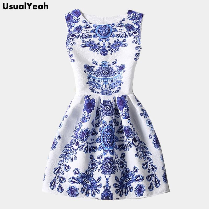 Blue and White Porcelain Dress 2017 Summer Fashion Women Dresses Sleeveless Blue Vintage Dress Hot Selling