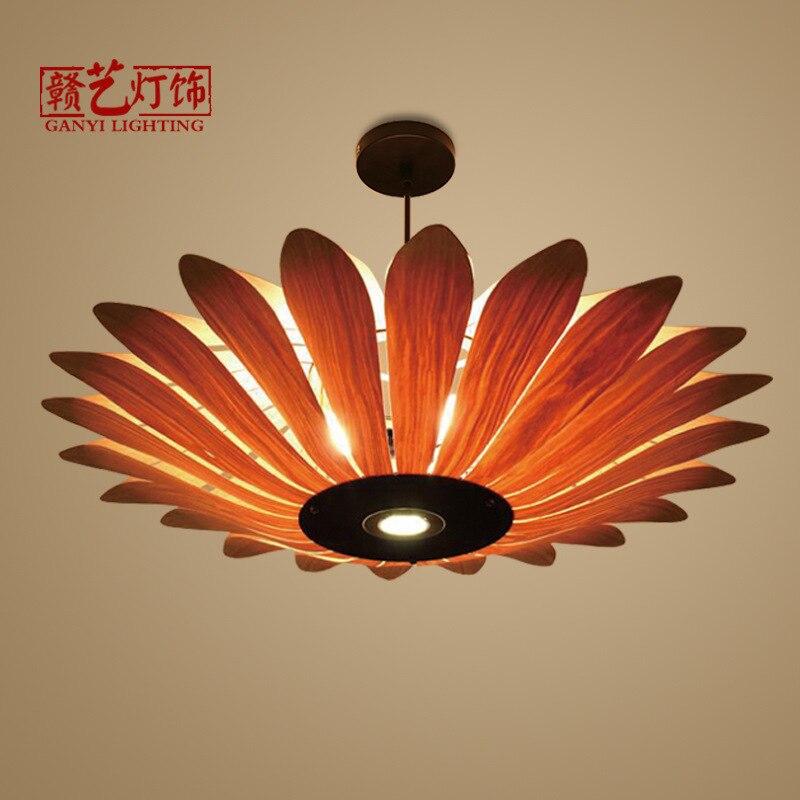 lamp, living room bedroom lamp, Southeast Asia wooden skin lamp restaurant, restaurant, tea house, wooden chandelier.