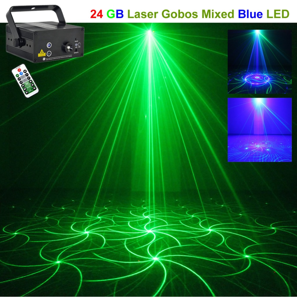 Mini 12 Green Blue Gobos Remote Laser Projector Lights 3W Blue LED Mixing Effect DJ Party Home Holiday Show Stage Lighting 12GB все цены