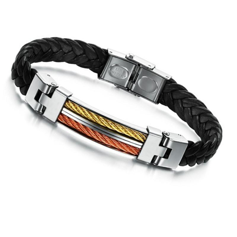 Mens Style Buckle Bracelet Bangle Cuff Genuine Leather Braided Stainless Steel