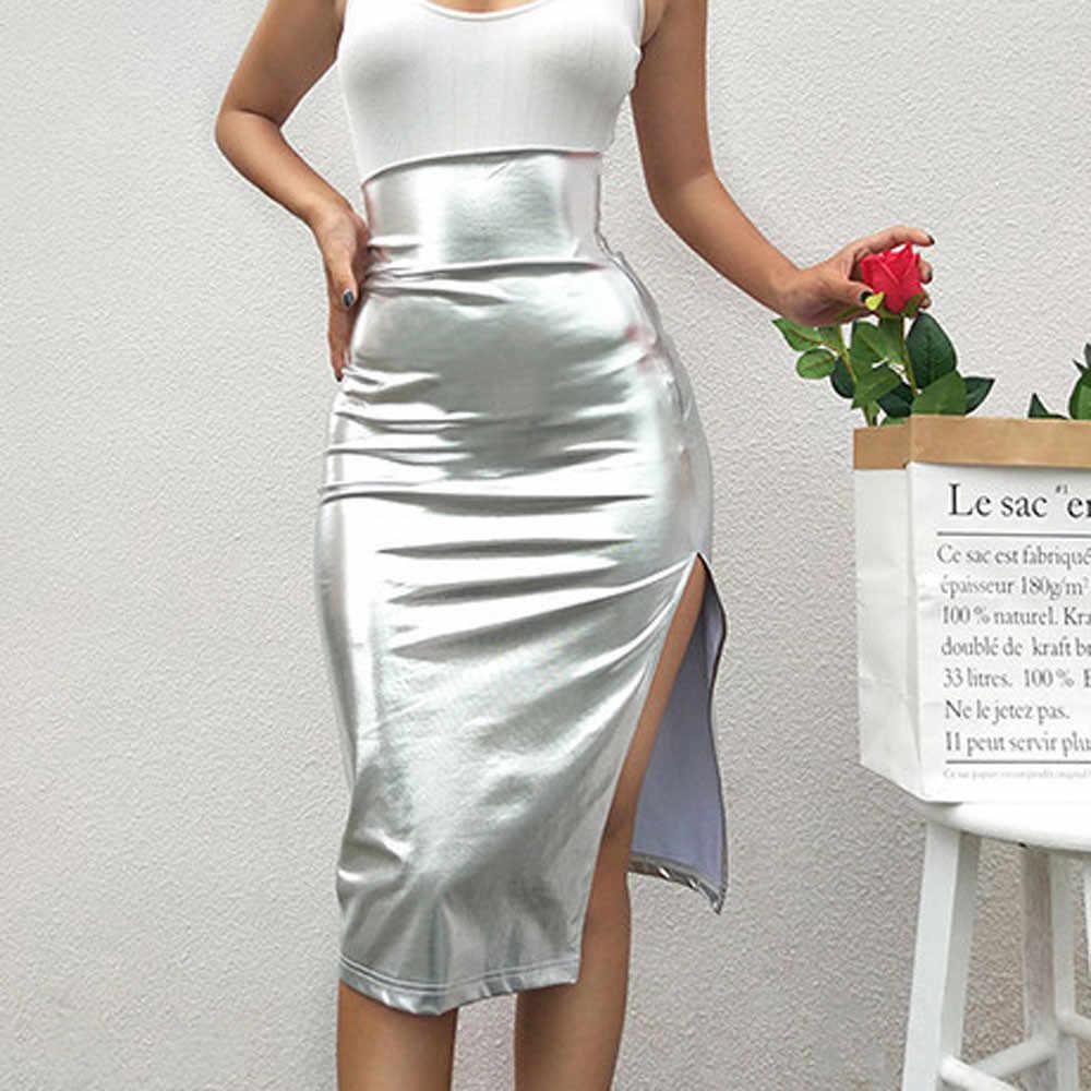 Damska spódnica spódnice faldas jupiter femme shein saia kobiety moda stałe szczupła wysoka talia Push up Hip jasne skórzane widelec spódnica #50