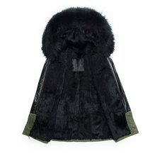 Long style male parka hooded real fur coat winter black fur Male jacket free freight