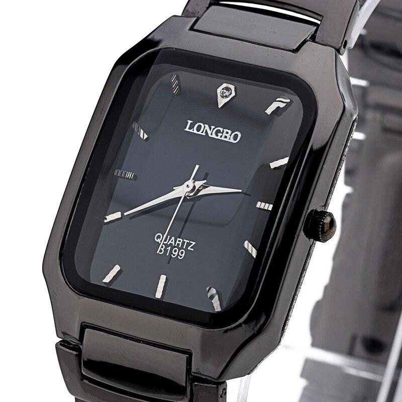 Fashion 2019 Longbo Brand Man Woman Lovers Clocsk Full Black Stainless Steel Quartz Wrist Watch Folding Clasp Gift Dress Watches