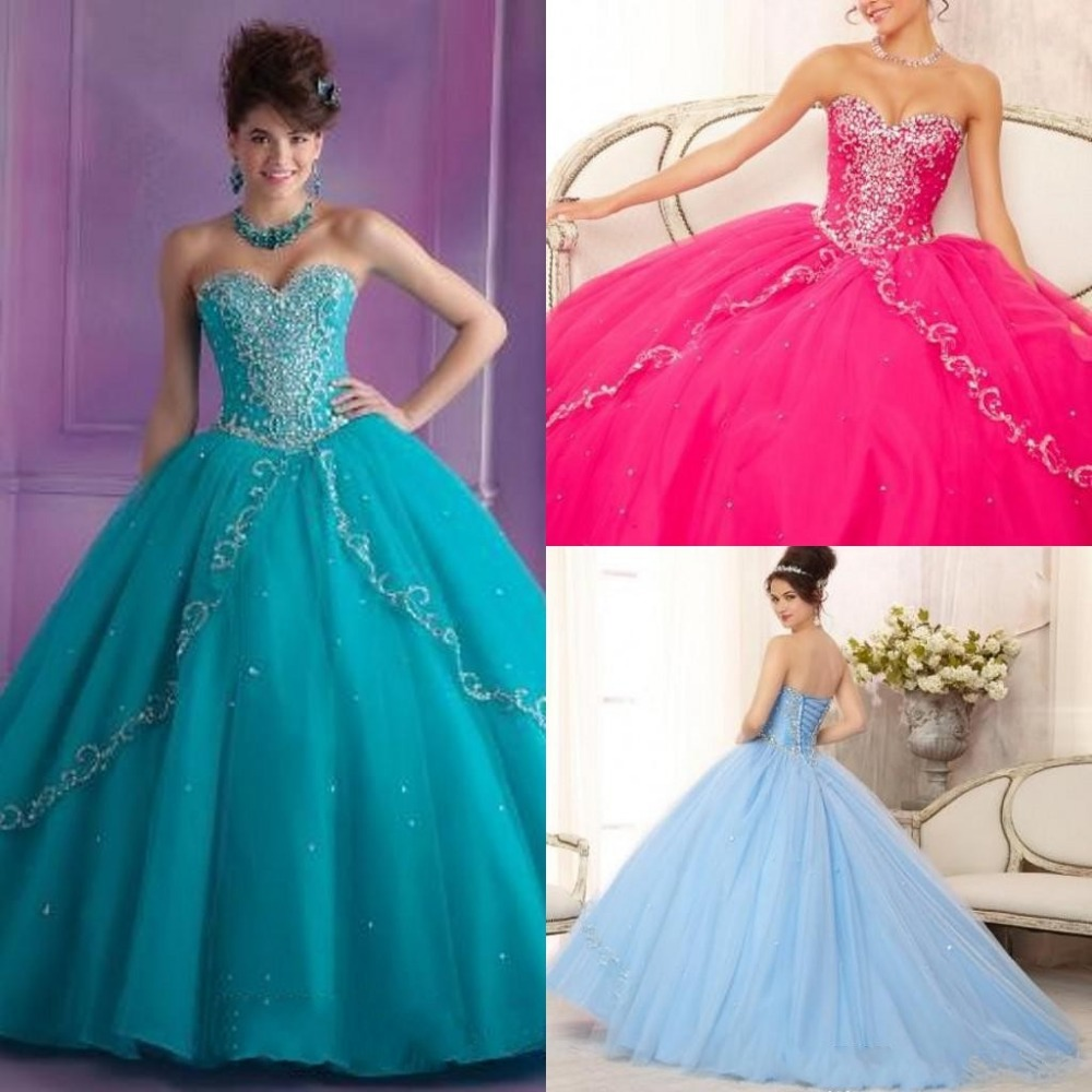 2015 Trendy Fashion Ball-gown Quinceanera Dresses Floor-length Sweetheart Sleeveless Lace-up Back Beading Quinceanera Gown Prom(China)