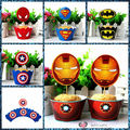 Freeshipping Baking DIY 12sets Paper Cupcake Toppers+Wrap Super Heroes 5 styles Kids Wife Gifts Kitchen toys Party Decoration