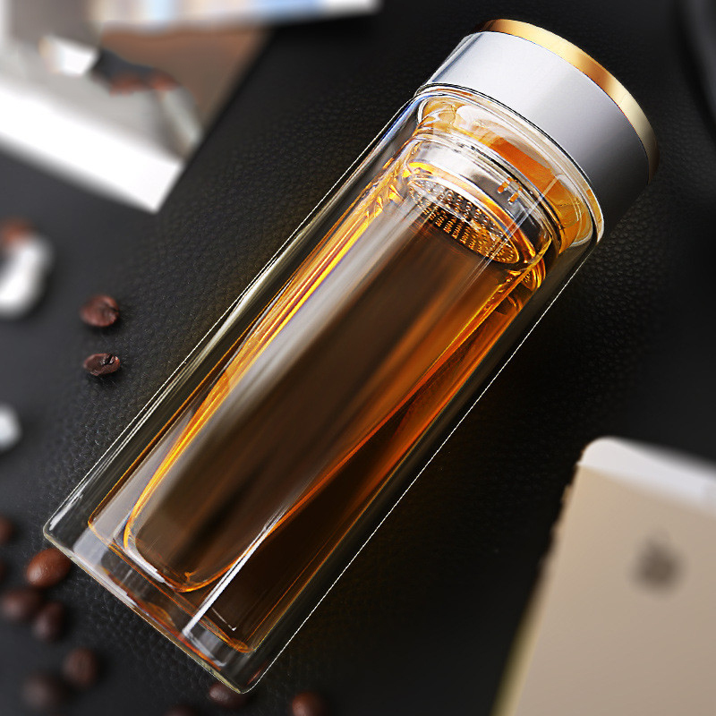 Abay Portable Office Double Wall Glass Tea Bottle With Stainless Steel Tea Filter Water Bottle Anti Scalding Business Mug|Water Bottles|   - AliExpress