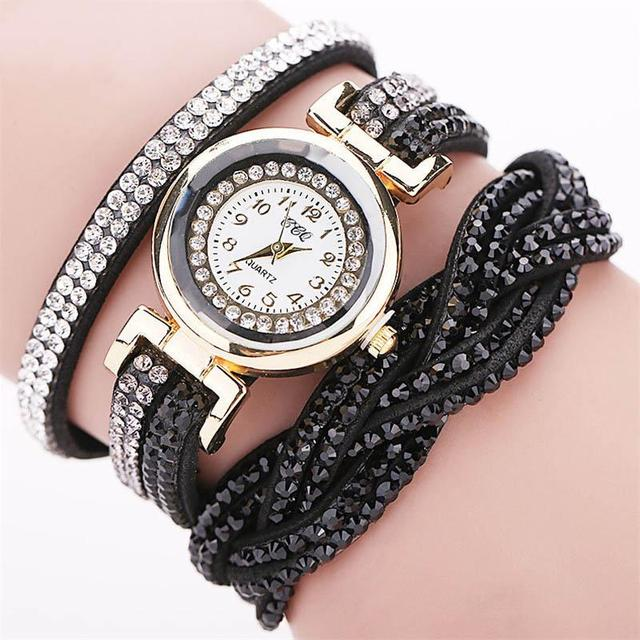FUNIQUE Watch Women Bracelet Watch Crystal PU Leather Braided Strap Multilayer W