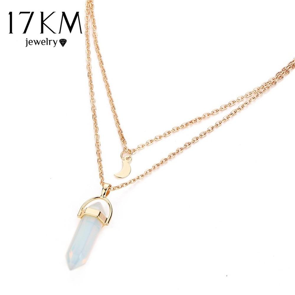 17KM Bohemian Opal Stone Moon Choker Κολιέ Νέα κολιέ - Κοσμήματα μόδας - Φωτογραφία 4