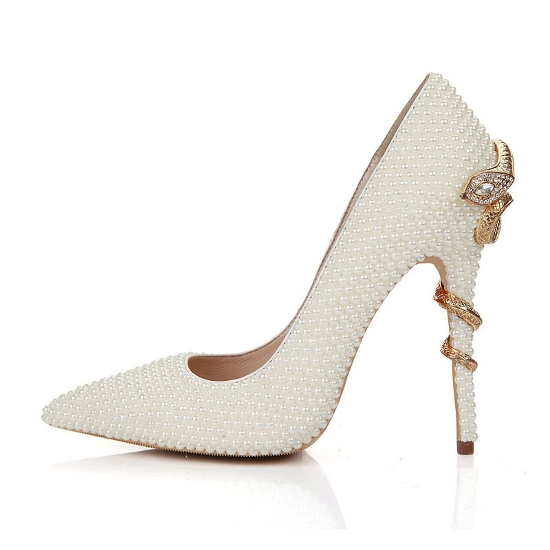 Handmade Ivory Pearl Bride Shoes Snake Style High Heels Pointed Toe Wedding Party Shoes Thin Heel Mother of the Bride ShoesHandmade Ivory Pearl Bride Shoes Snake Style High Heels Pointed Toe Wedding Party Shoes Thin Heel Mother of the Bride Shoes