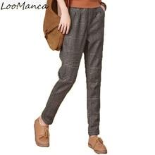 Plus Velvet Thickening Women Harem Pants Winter Woman Warm Legging Trousers Elastic Plaid Pants Ladies Long Trousers