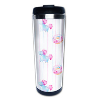 Watercolor Unicorns and Donuts coffee mug picture insert car tazas stainless steel tumbler caneca tea Cups
