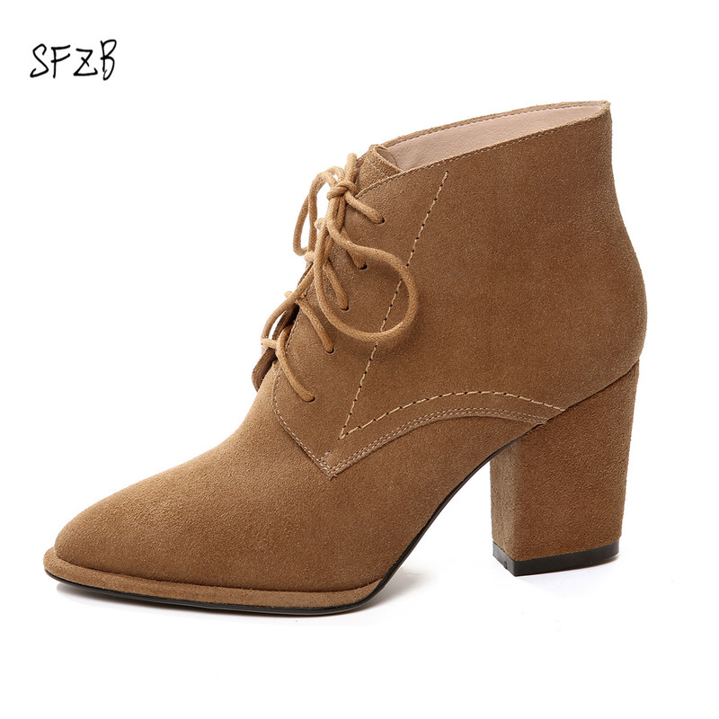 SFZB Sexy Women Boots cow Leather High Heels Ankle Boots Shoes Women Fall Ladies Short Boots NEW Zip Big Size 34-40 warm winter fur leather women ankle boots high heels sexy comfortable shoes ladies short boots cutout shoes big size