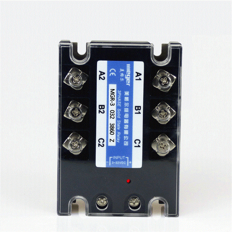 Three-phase solid state relay DC controlled AC 380V 60A MGR-3 032 3860Z Load voltage 3-32V DC single phase solid state relay 220v ssr mgr 1 d4860 60a dc ac