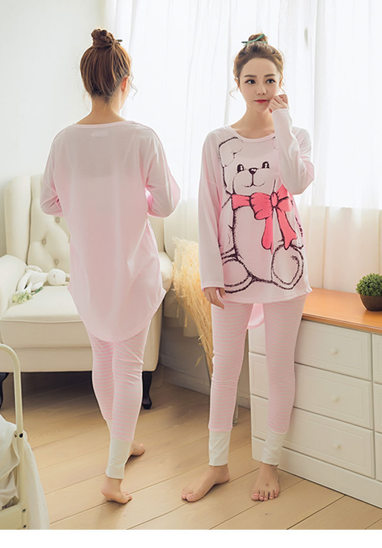 Womens Pajamas Sets 2019 Summer Round Neck Cartoon Kawaii Totoro Cartoon Sleepwear Nighty Female Casual Autumn Winter Pajamas 23