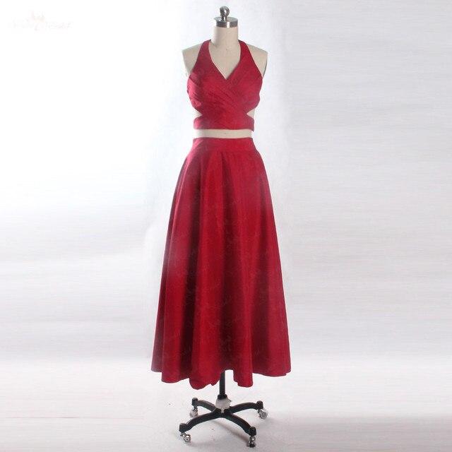 Lzf046 красный Вечерние платья 2018 Холтер Двойка Для женщин короткое вечернее платье для выпускного вечера; Robe De Soiree