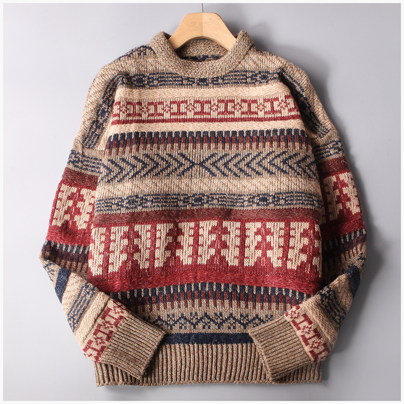 Winter New Vintage Thick Wool Sweater Men Print Pattern Knit Pullover Mens Warm Comfortable O-neck Long Sleeve Sweaters YT50155