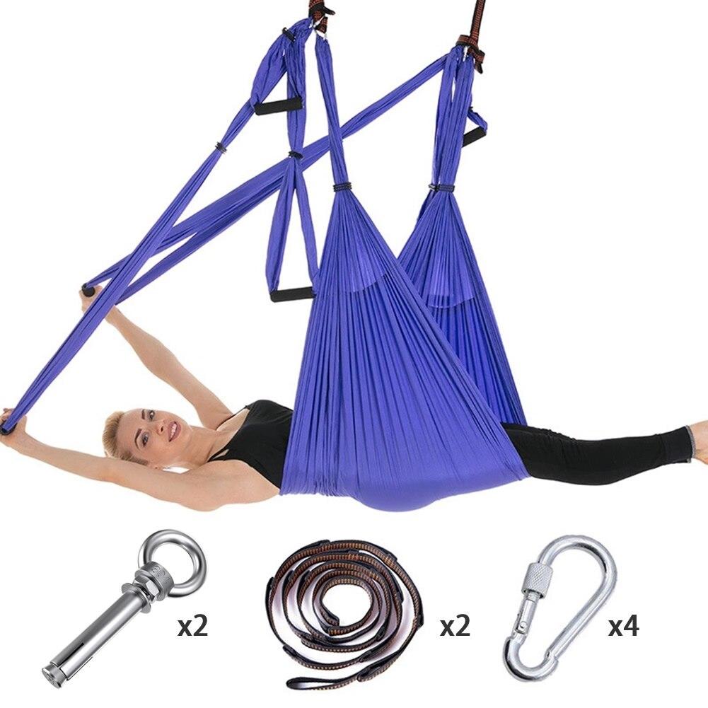 Full Set 6 Handles Anti gravity Aerial Yoga Hammock Flying Swing Trapeze Yoga Inversion Exercises Device Home GYM Hanging Belt