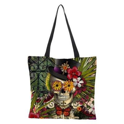c36608187 Personalizado hecho a mano Floral cráneo personalizado bolsa de lino bolsos  para mujeres dama Eco reutilizable bolsas de compras viaje 43 cm * 43 cm