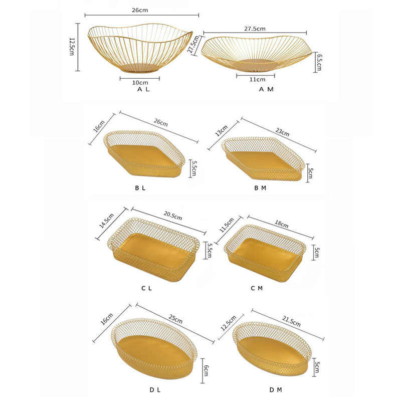 Nordic ferro dourado frutas armazenamento cestas lanche tigela de doces frutas placa de armazenamento de jóias sala estar restaurante organizador de armazenamento