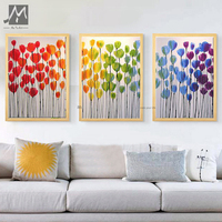 3 Panel Abstract Modern Canvas Wall Handmade Decorative Tulip Flower Colorful Oil Painting On Canvas For