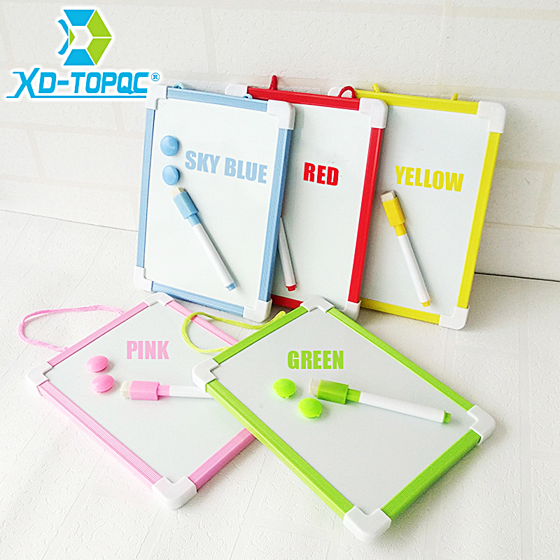 XINDI 20.5*15.6cm Magnetic Kids Whiteboard Dry Wipe Board 5 Colors Mini Drawing White board Small Hanging Erase Boards With Pen