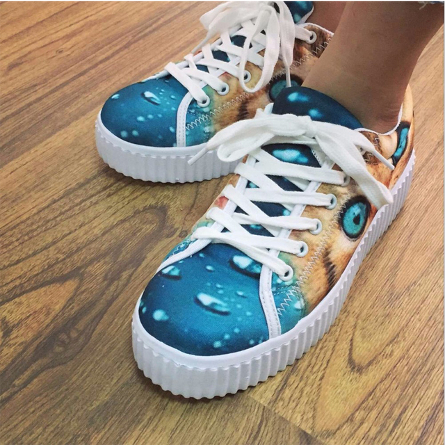 Summer Spring Women Flats Platform Shoes Zapatillas Cat Pattern Ladies Creepers Platform Shoes Thick Bottom Zapatos Mujer 35-41