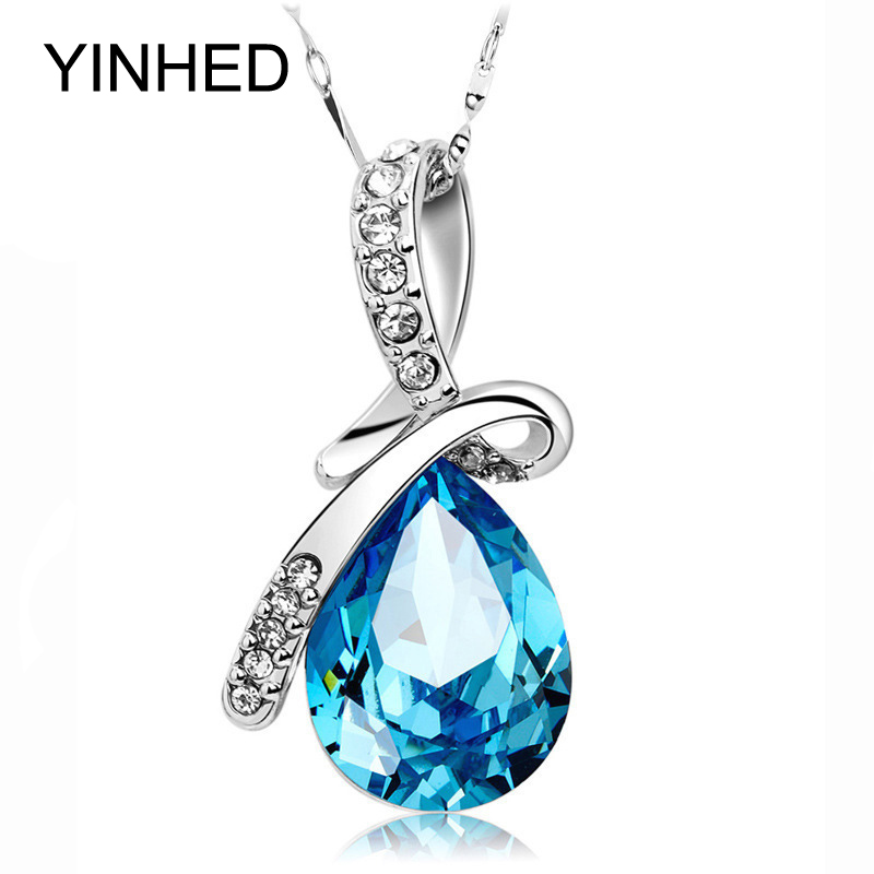 YINHED Synthetic Diamant Teardrop Necklace 925 Sterling Silver font b Jewelry b font Blue Austrian font