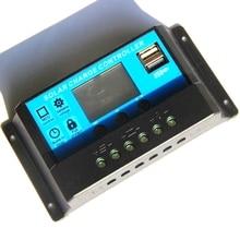 BUHESHUI Панели солнечные контроллер ЖК-дисплей Дисплей солнечный регулятор Батарея Зарядное устройство Системы 10A/20A/30A 12 В/24 В с двумя USB Chargr