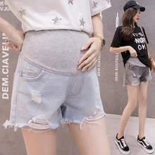Summer Loose Casual Maternity Denim Shorts Hole Elastic Waist Pregnant Washed Jean Shorts Adjustable Belly Pregnancy Short Pants summer casual loose maternity shorts low elastic waist side white strip pregnancy short pants stomach lift pregnant shorts