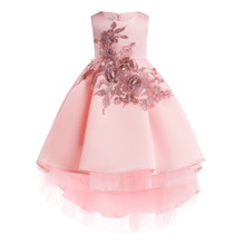 2019 New Princess Lace Dress Kids Flower Embroidery Dress For Girls Vintage Children Dresses For Wedding Party Formal Ball Gown