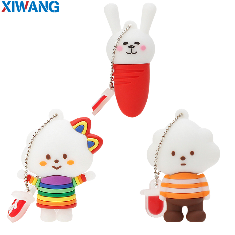 Cartoon USB 2.0 Pendrive Cute rabbit carrot 4GB 8GB 16GB 32GB Pen Drive 64GB USB Flash Drive Flash Memory Stick External Storage