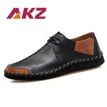 AKZ 2018 여름 남성 캐주얼 신발 암소 가죽 새로운 패션 빛 편안한 성인 남성 플랫 신발 분할 가죽 Moccasins 신발