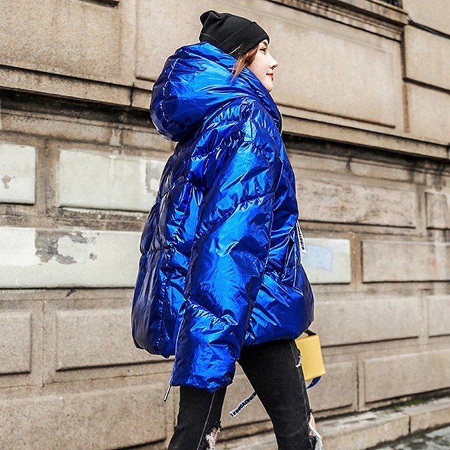 2019 Thicker Cotton Casual Plus Size Parka Loose Warm Outwear Winter Coat Women Clothes Bright Blue Jacket Female Z002