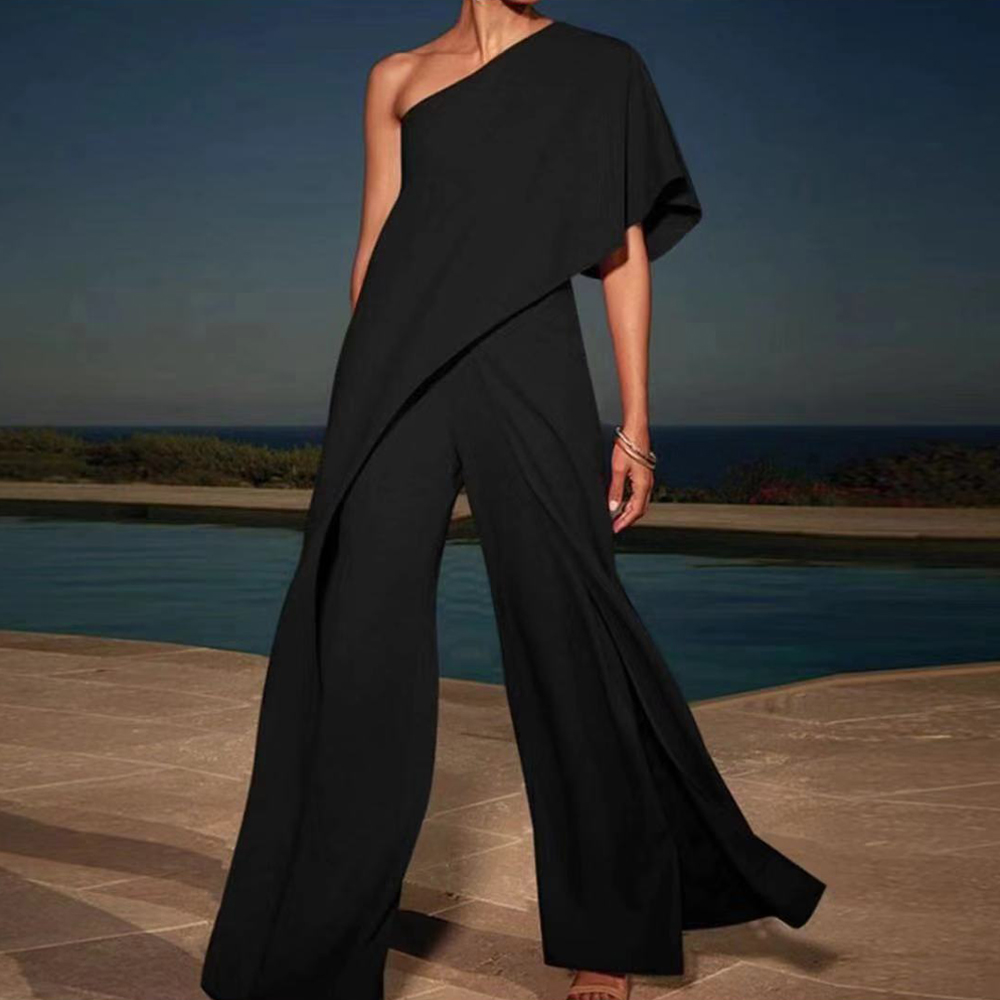 Missord 2019 New Summer Sexy Off Shoulder Ruffle Rompers Elegant Wide-leg Solid Color Women Casual   Jumpsuit   FT18845