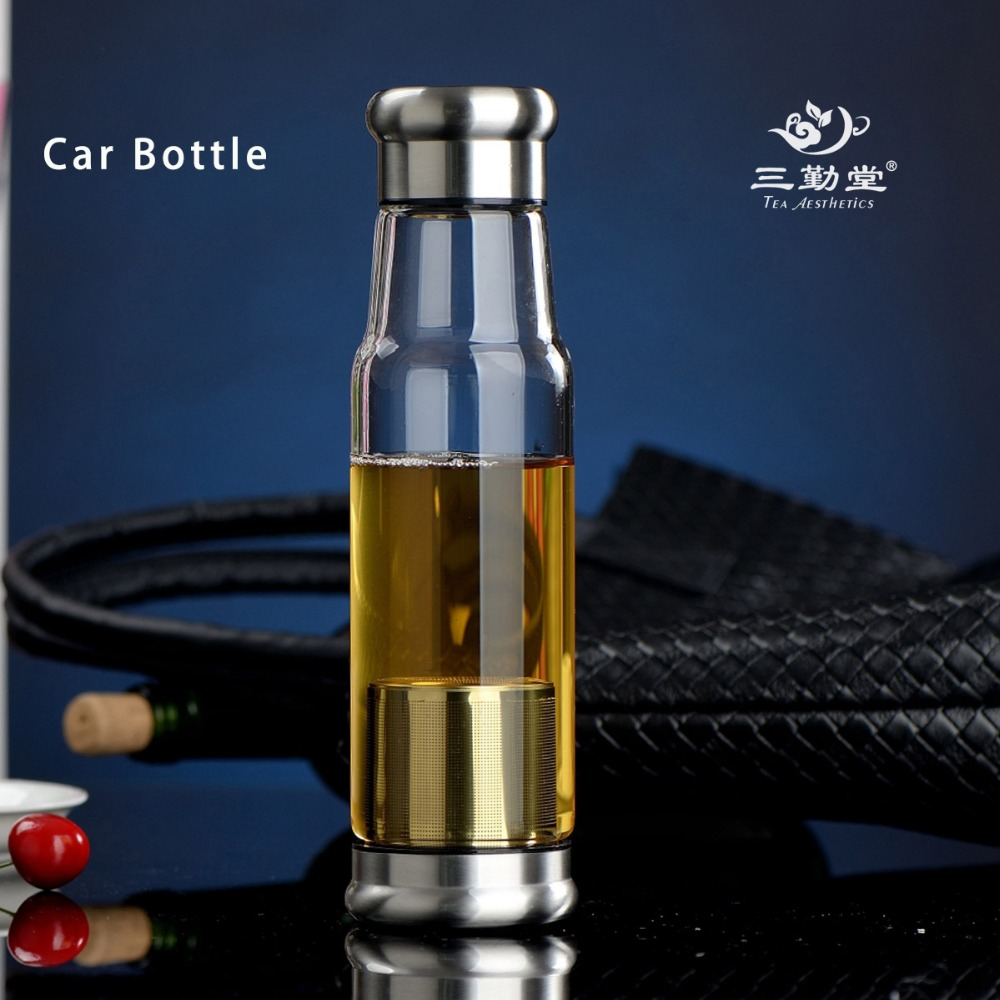550ML Outdoor Sport Glass <font><b>Tea</b></font> Glass Bottle Vehicle Mounted Water <font><b>Cup</b></font> Stainless Steel Filter Portable Travel Car <font><b>Cup</b></font> For Men