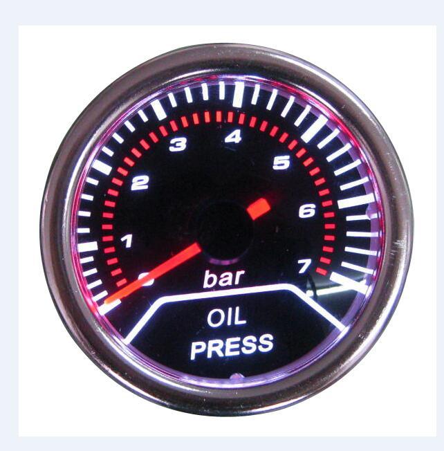 Наддув/вакуум/Температура воды/Температура масла/Масляный Пресс/Напряжение/Тахометр/соотношение воздушного топлива/EGT датчик+ манометр стручки 52 мм Аналоговый светодиодный белый корпус - Цвет: OIL PRESSURE BAR