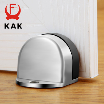 KAK Stainless Steel Door Stopper Non-punch Sticker Water-proof Holder Hidden Rubber Stop Furniture Hardware