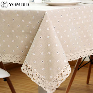YOMDID Tablecloth Linen Cotton Rectangular Table Cloth Home