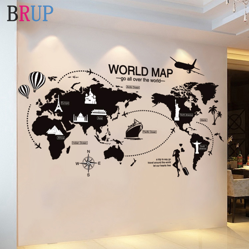 Large Size World Map Wall Stickers Black Map Of The World Home Decor For Kids Room Travel Airplane Wall Decals For Bedroom