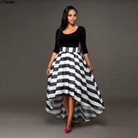 New Arrival Black O Neck Half Sleeve Two Piece Suit Asymmetrical Women Dress Sriped Vestido De
