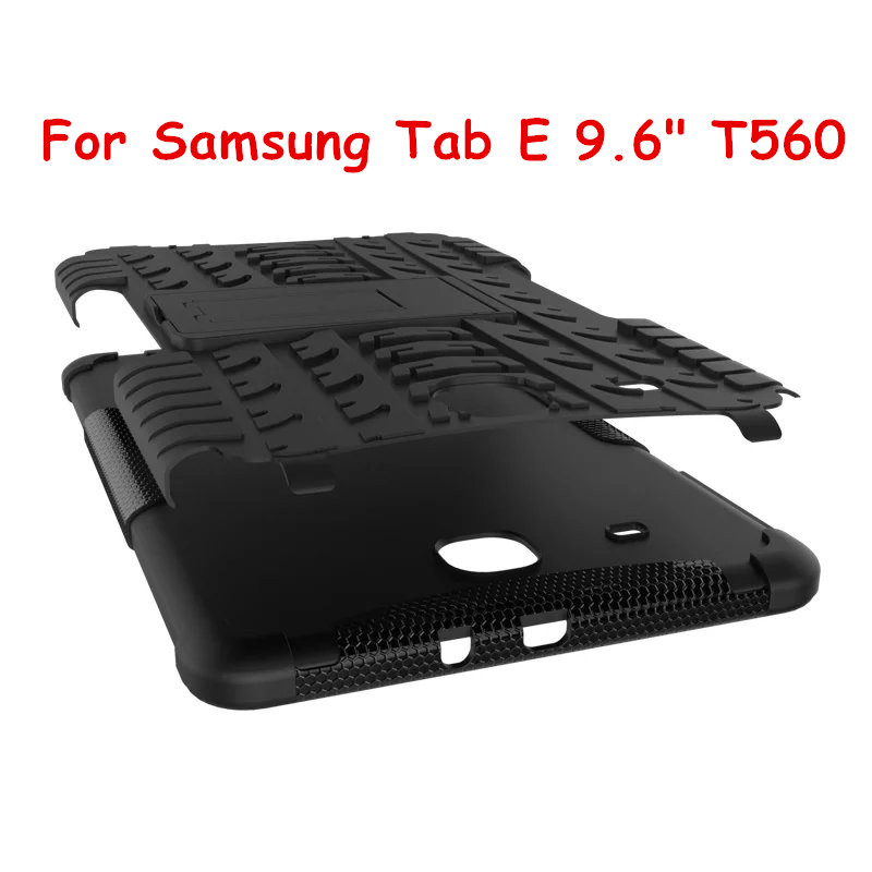 For Samsung GALAXY Tab E TabE 9.6 T560 Tablet case Heavy Duty Defender TPU+PC Armor Case Cover for Tab E 9.6 Protective Shell tire style tough rugged dual layer hybrid hard kickstand duty armor case for samsung galaxy tab a 10 1 2016 t580 tablet cover