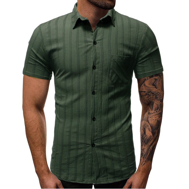 Business Casual Men's Shirt Vertical Stripes Short Sleeve Shirts Solid Color Turn-Down Collar Streetwear M-3xl