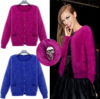 New Womens mink cashmere cardigan sweater new skull button free shipping K1761