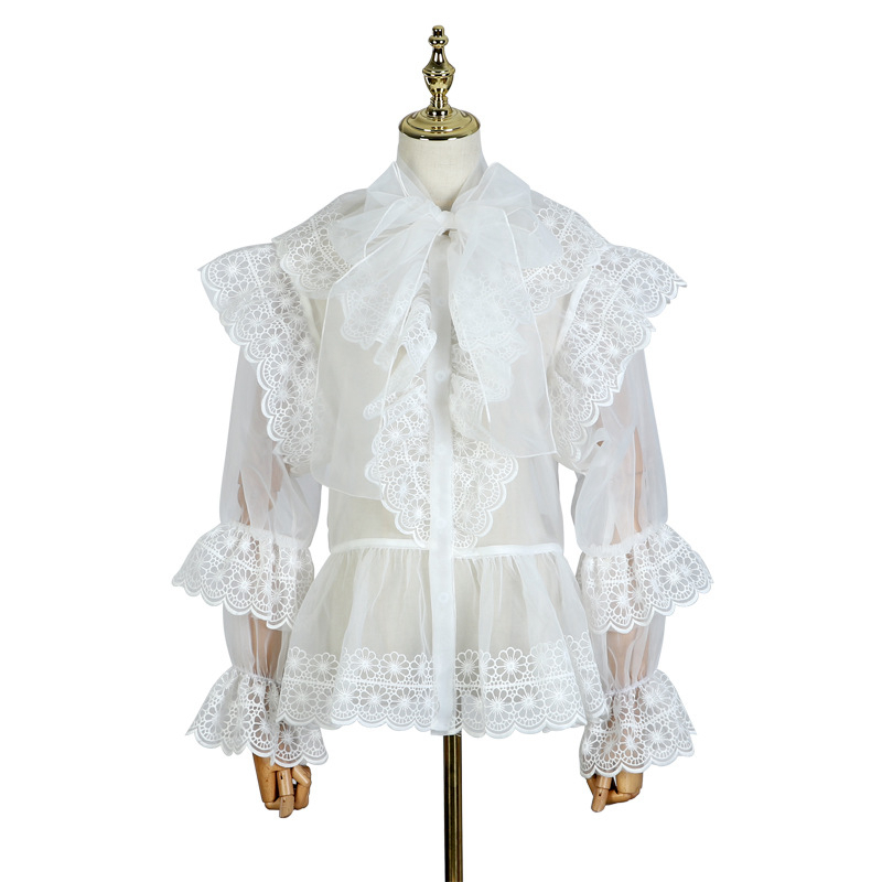 2019 black Femelle De Tops Befree Manches Chemise Mode Piste Printemps White Sexy Arc Creux Ruches Out Femmes Bouffantes Designer Blouse 6g7bfy