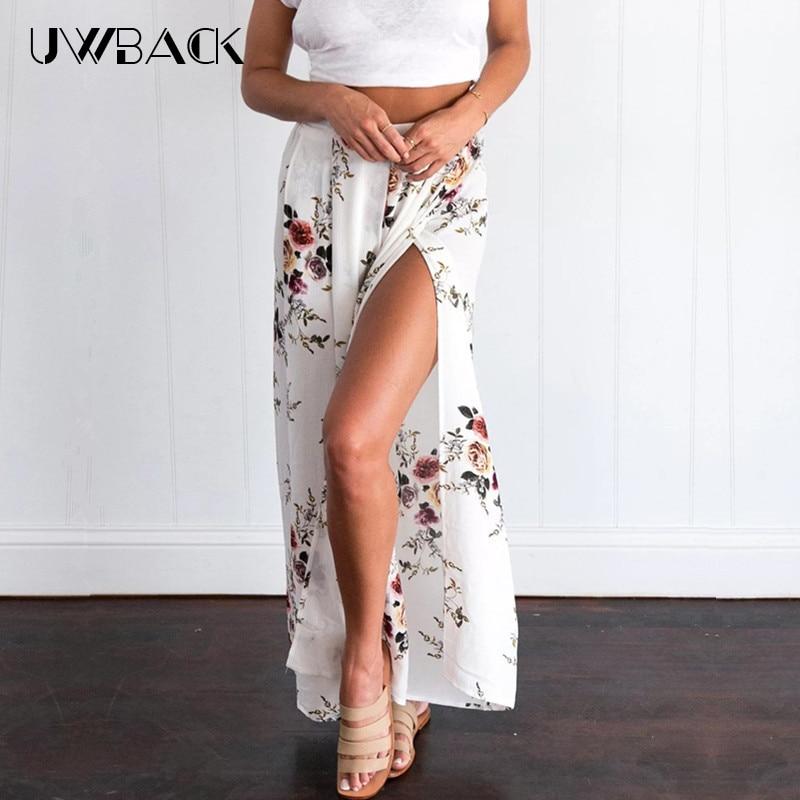 Uwback Women Floral Wrap Pants Wide Leg Elegant Fake Skirt Summer 2018 Boho Sexy Chiffon Trousers Beach Skirt Lady 2XL,EB095