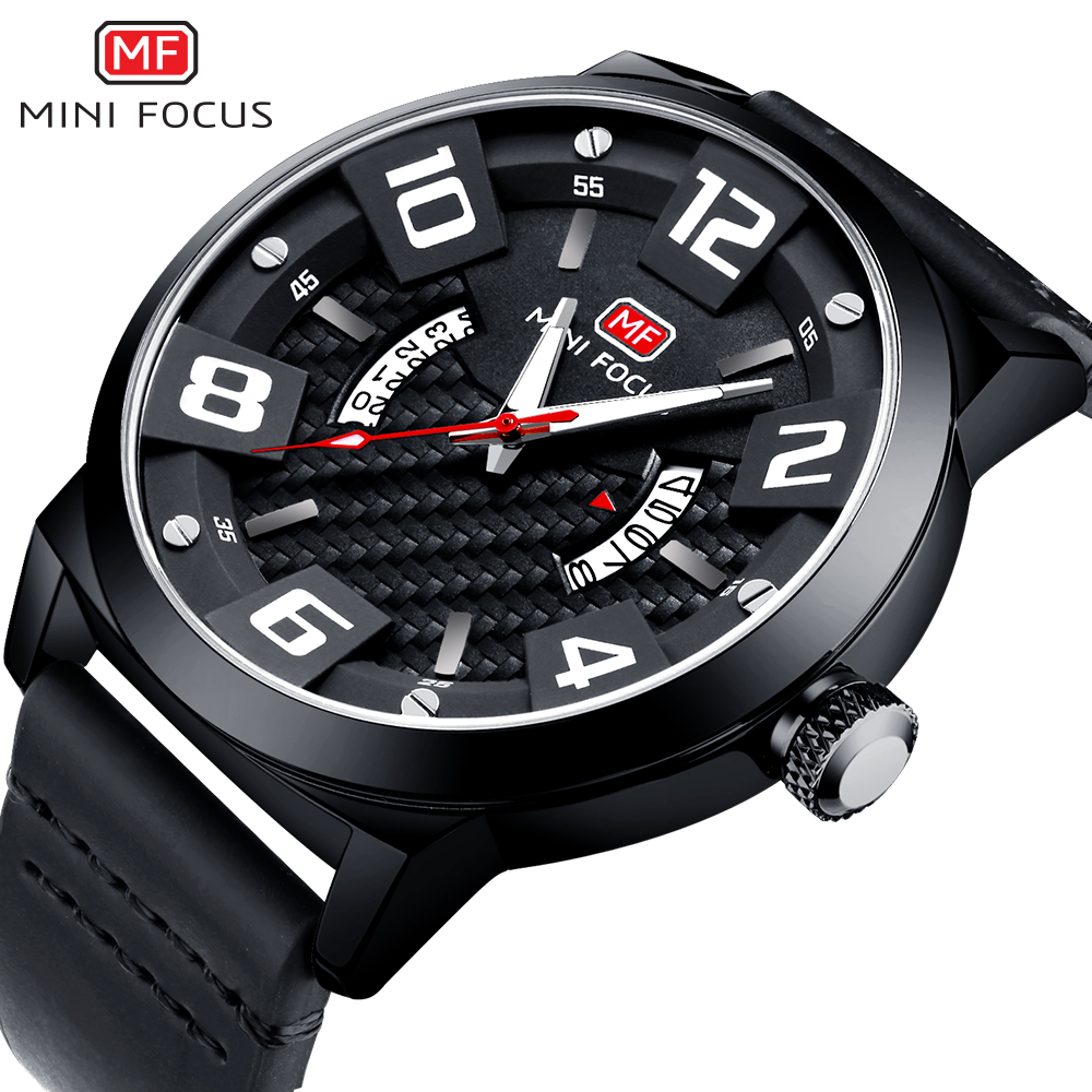 MINIFOCUS Top Brand Luxury Mens Wrist Watch Quartz 2018 Sports Fashion Watches Men Leather Army Military Relogio Masculino loreo casual mens watches brand luxury leather men military wrist watch fashion men sports quartz watch relogio masculino m32