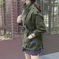 2016 Women Hitz Windbreaker Female Coat Big Yards Slim Waist Army Green Frock Trench Coat Bomber Coats For Women